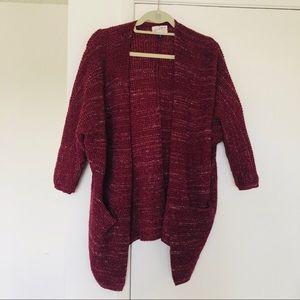 Knit maroon cardigan with pockets